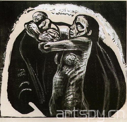 手绘黑白反战海报