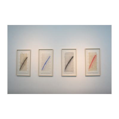 叶永青,(左起)褐痕 蓝痕 黑痕 红痕,2014